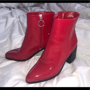 Forever 21 Red Leather Booties
